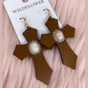*NEW* Cross Earring with white turquoise accent